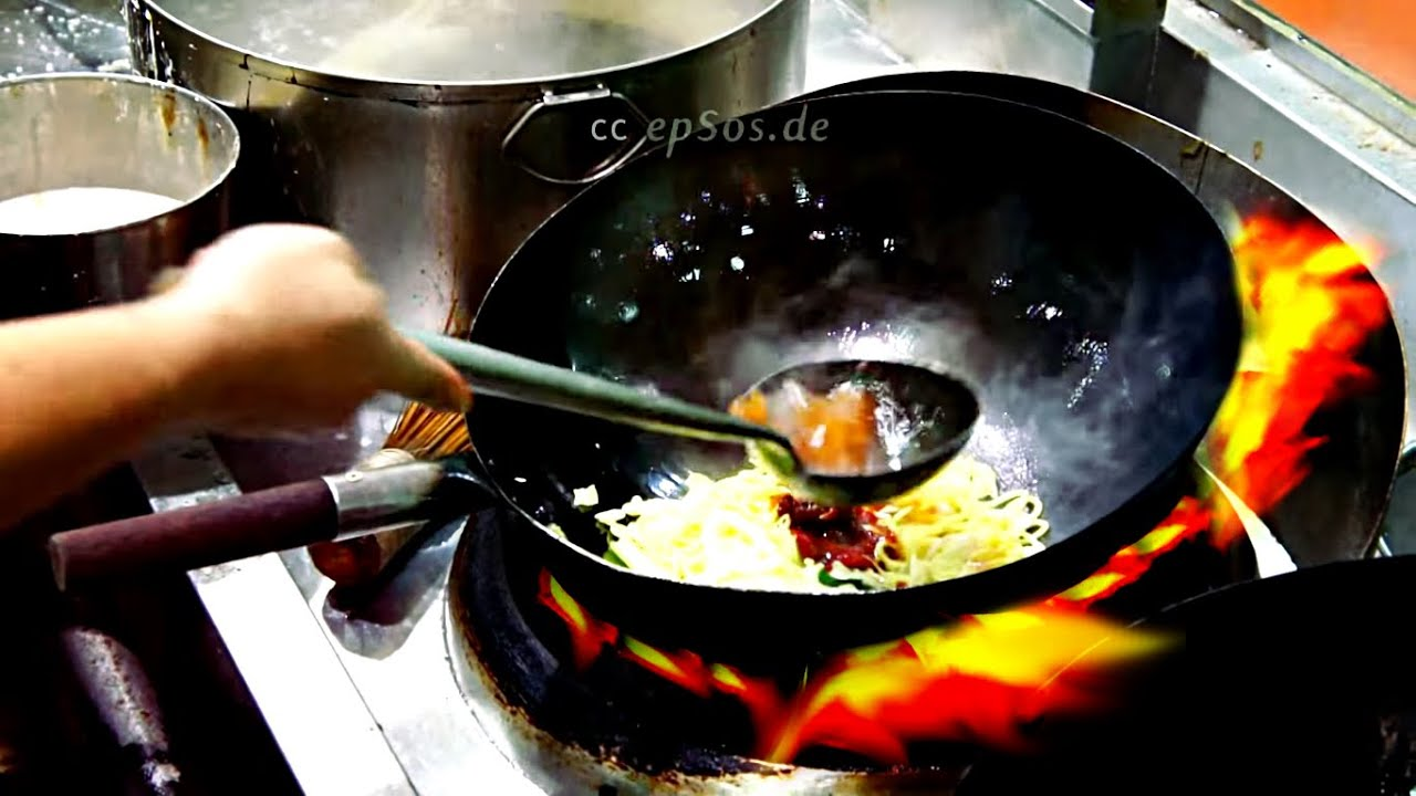 wok chinese noodles fried cook properly cooking fry frying fire
