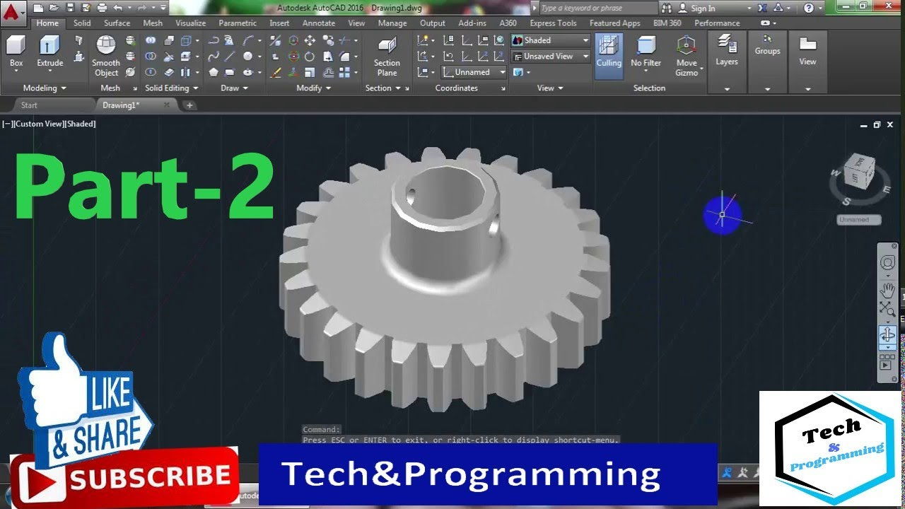 3D modelling Simple Gear in AutoCAD 2016 Part-02