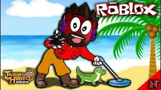 ROBLOX indonesia #128 Treasure Hunt Simulator | Upgrade Metal Detector and crocodiles
