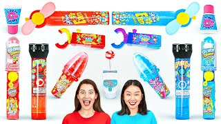 RED VS BLUE COLOR CHALLENGE || Last To STOP Eating Wins! Candy Mukbang By 123 GO! CHALLENGE