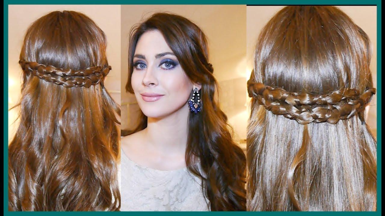 Peinado Diadema Romantica Con Trenza Irregular Youtube