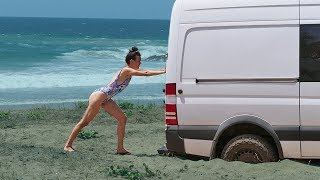 STUCK AT THE BEACH | Hello Mexico Ep. 29 // a van life series