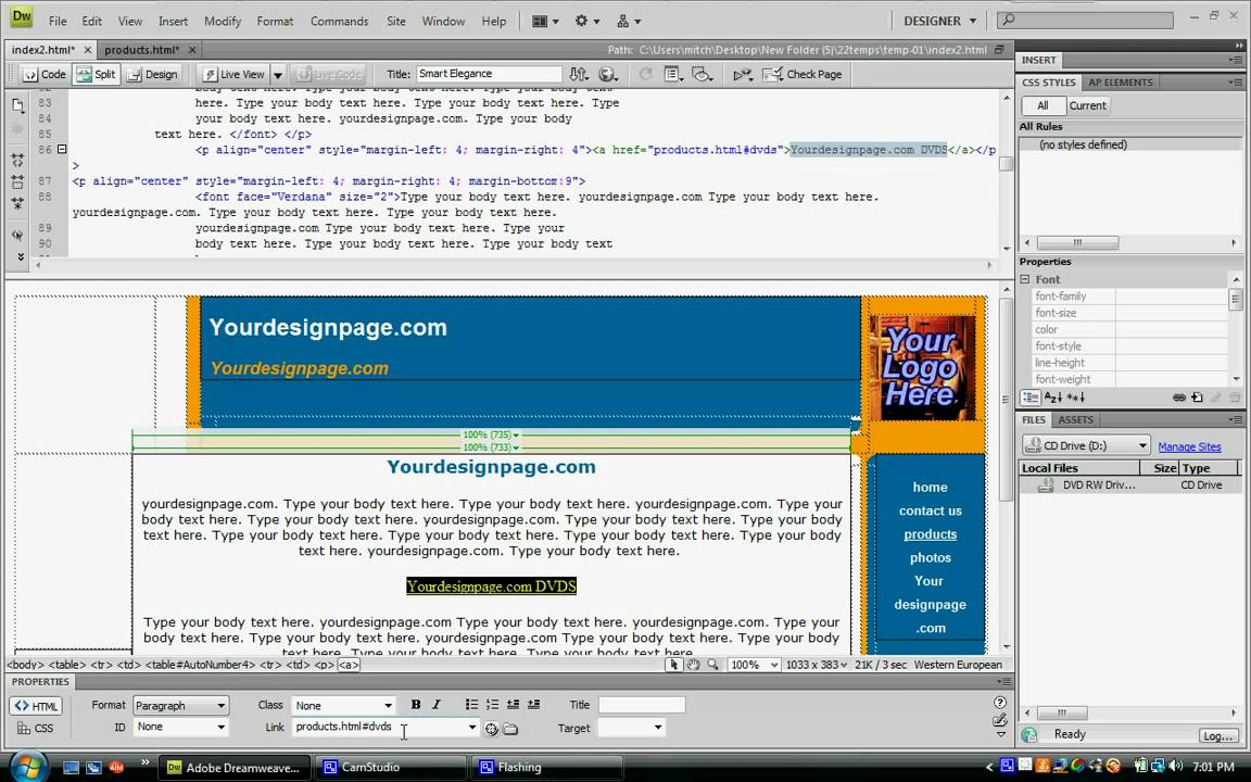 Dreamweaver CS4 adding an anchor to your website - YouTube