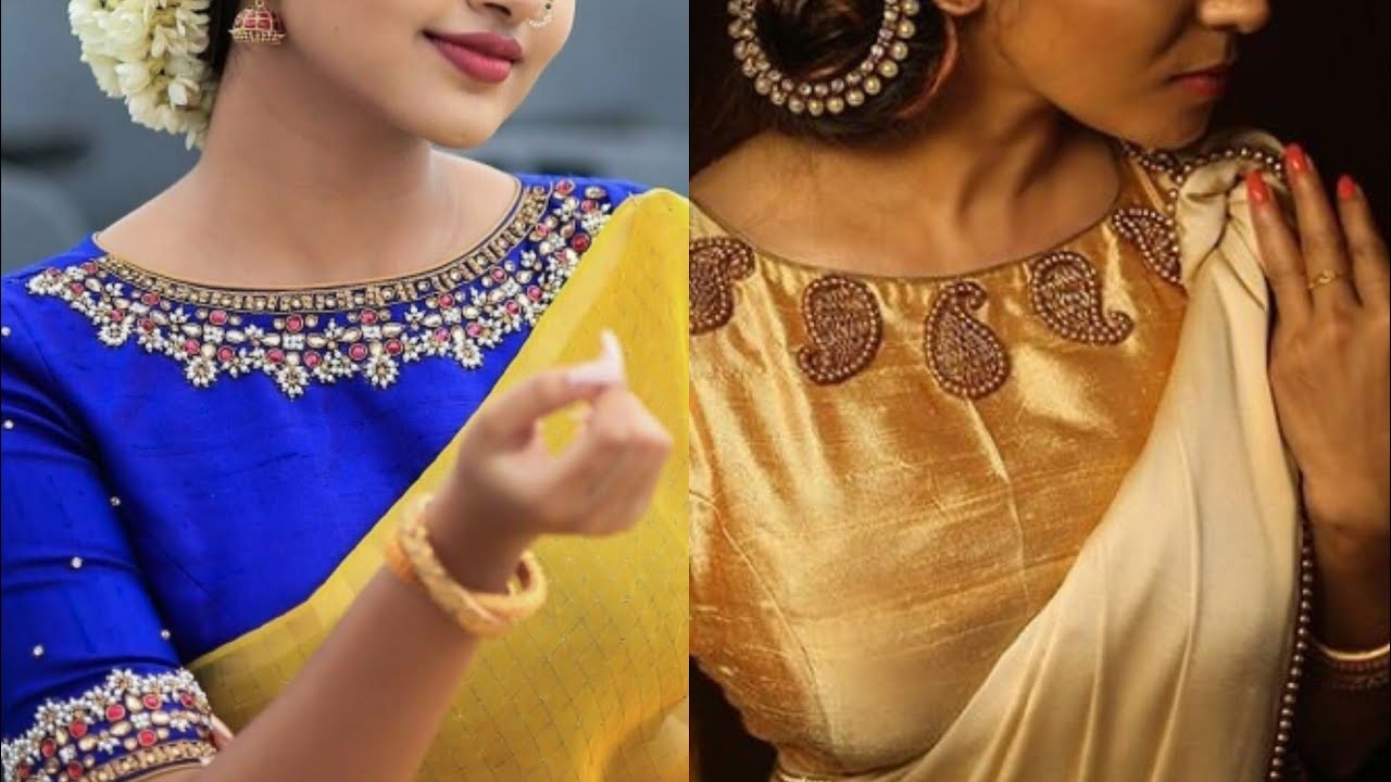 e4d05cb049 Beautiful boat neck Saree blouse designs ideas for Indian wedding outfits/Boat  neck Embroidery ideas