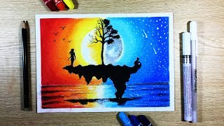 How to draw Sunset ft Moonlight Scenery with Oil Pastel step by step