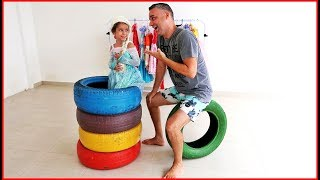 Disney princess learn colors with tire nursery rhymes for kids! - VÍDEO EDUCATIVO!