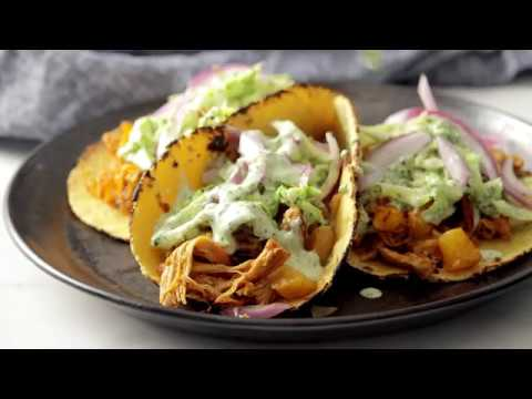 Grilled Pineapple Chicken Tacos with Avocado Crema