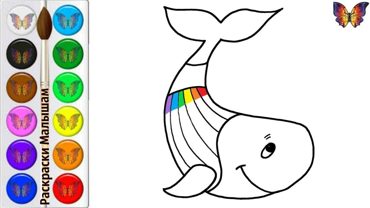 Как нарисовать кита / мультик раскраска радужный кит для ...