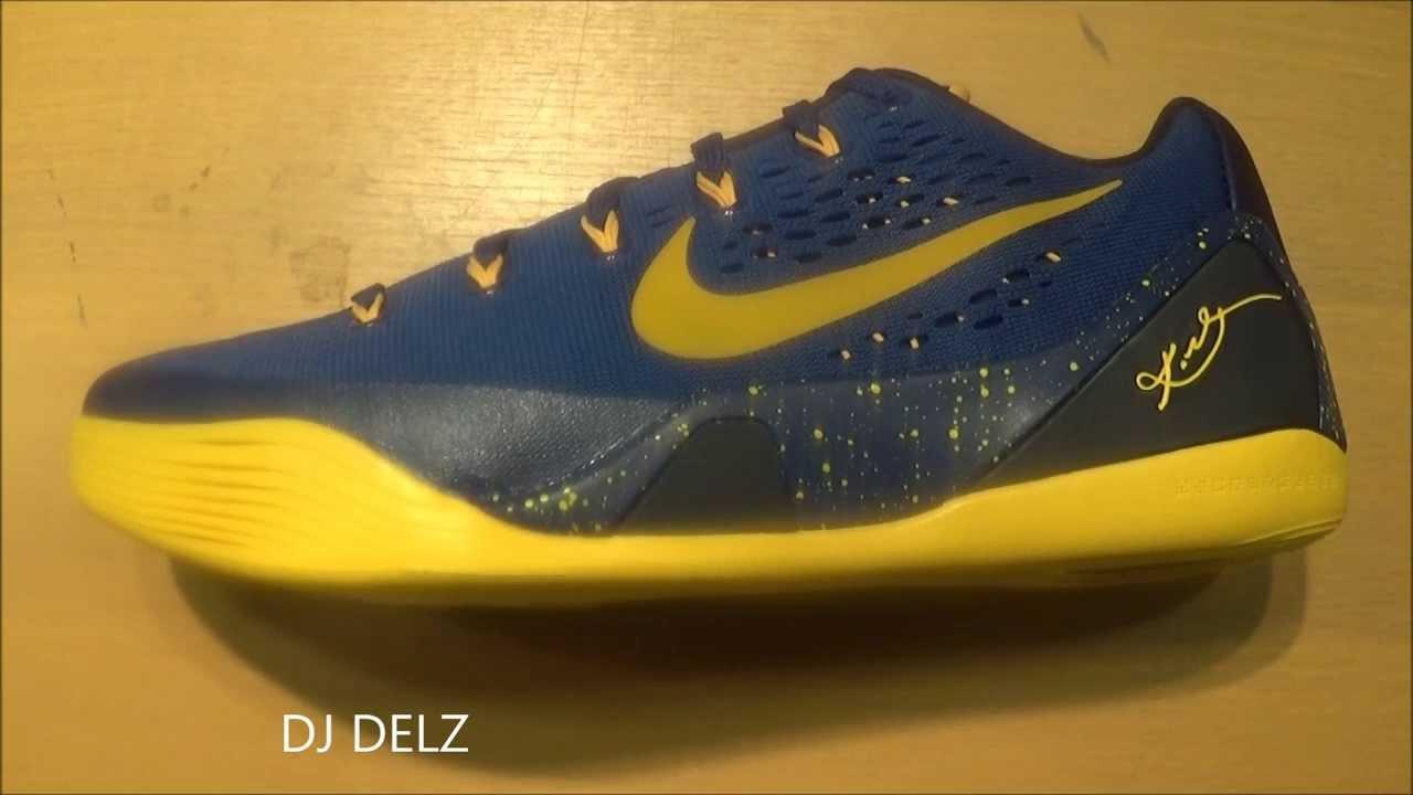 pretty nice 28589 67560 Nike Kobe 9 EM Gym Blue Gold Low Sneaker Review + Sizing With DjDelz  HOTORNOT