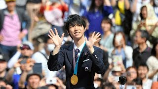 平昌五輪のフィギュアスケート男子で金メダルを獲得した羽生結弦選手の...