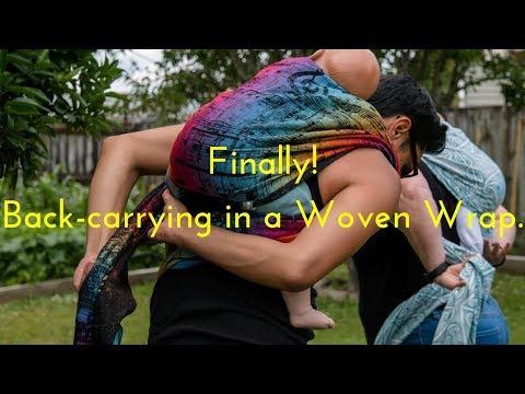 Finally! Back-carrying in a woven wrap. Raising Ziggy.