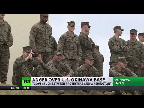 'Get out Marines' Thousands protest US military base in  Okinawa Japan