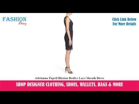 ★★★ Adrianna Papell Illusion Bodice Lace Sheath Dress ★★★