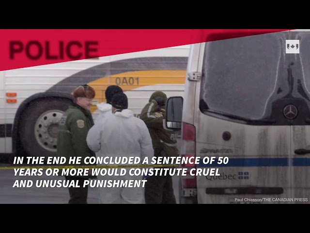 The man who shot dead six worshippers in a Quebec City mosque in 2017 has been sentenced to serve 40 years in prison before he can become eligible for parole.