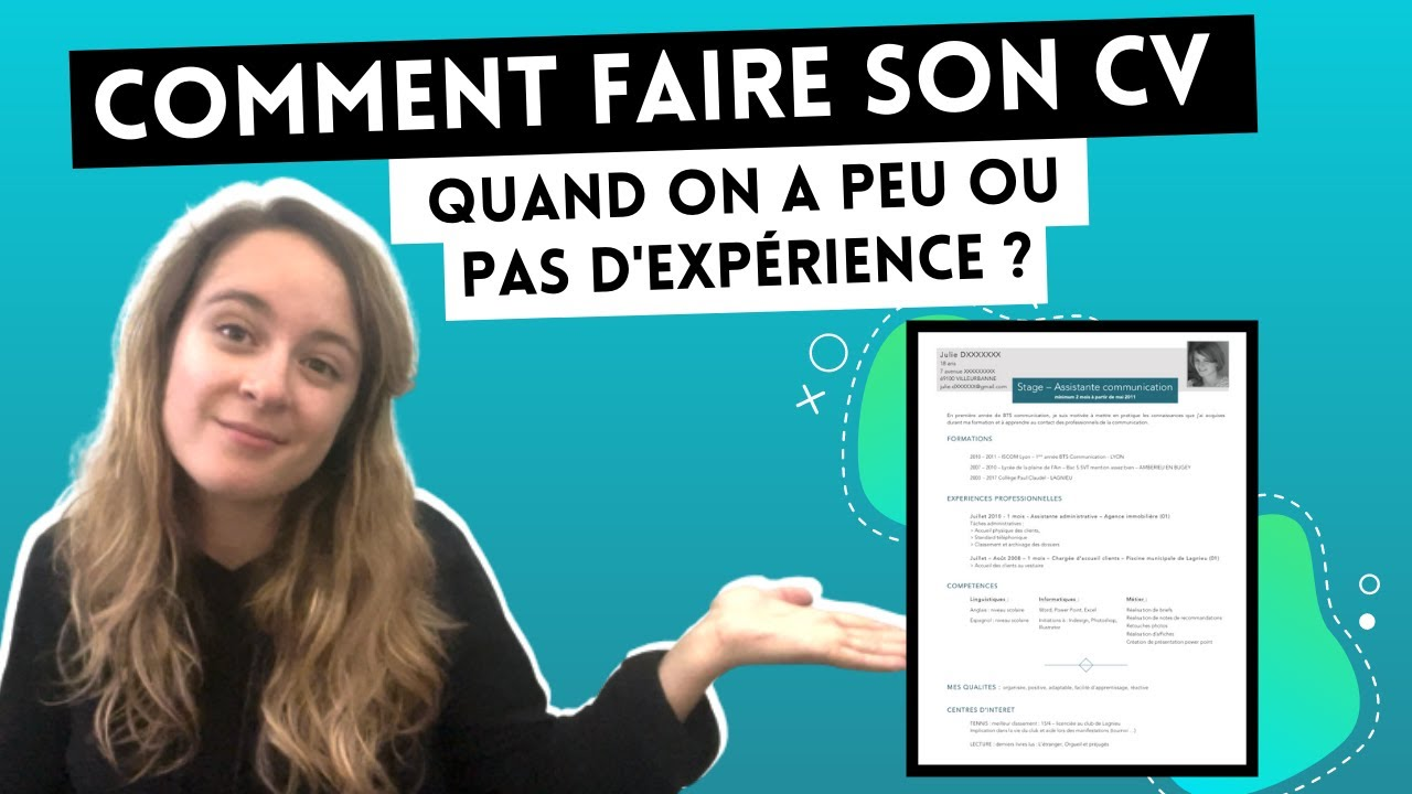 comment faire son cv  quand on a peu ou pas d u0026 39 exp u00e9rience