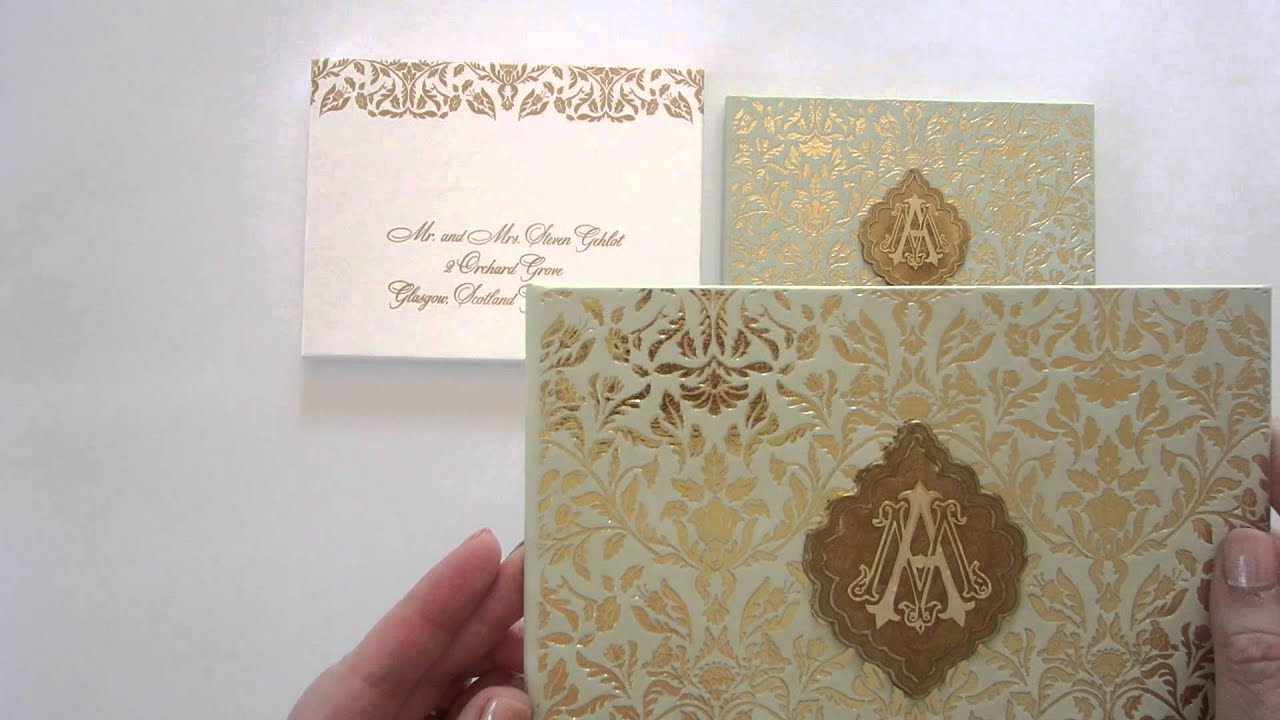 Mint And Gold Wedding Invitation With A Gold Medallion   YouTube