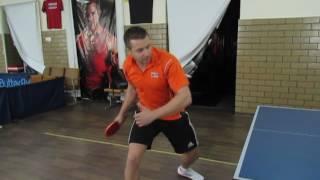 Уроки настольного тенниса: Топ спин справа с двух точек (справа и центра))