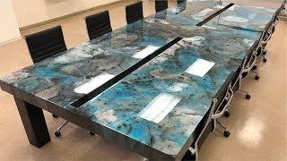 14ft Custom Made Conference Table | Metallic Epoxy