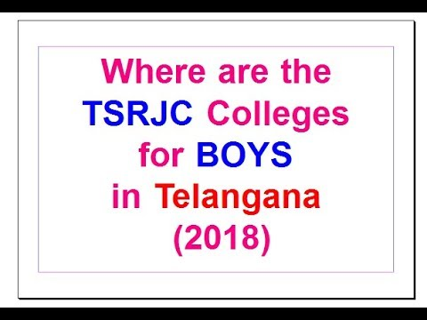 TSRJC Colleges Details list for BOYS in Telangana State 2018