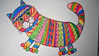 Как нарисовать котенка восковыми мелками