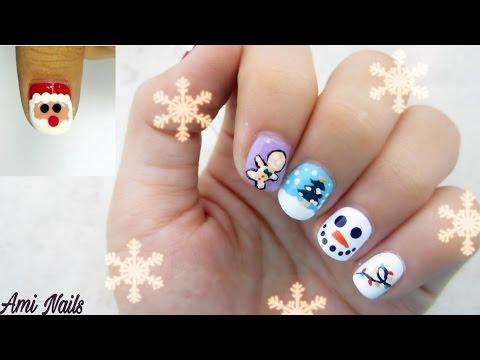 5 Christmas Nail Art Designs! Vẽ móng tay: 5 kiểu vẽ móng đơn giản cho Noel / Ami DIY- Nails