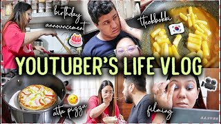 BIRTHDAY ANNOUNCEMENT! Korean Tteokbokki, GIFTS & Atta Pizza | Youtuber's Life Vlog | ThatQuirkyMiss