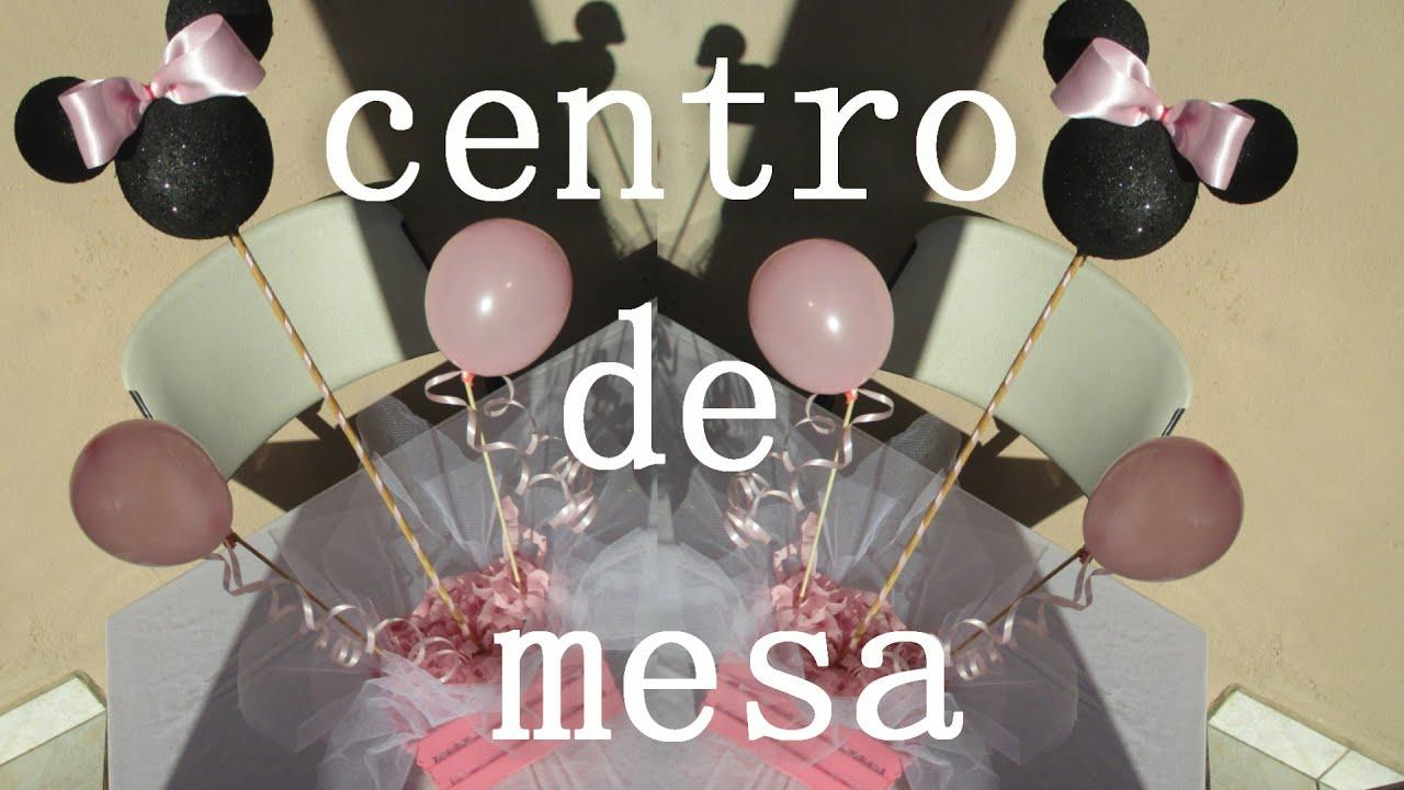 Centro de Mesa Baby Shower Minnie Mouse facil y economico