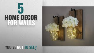 Top 10 Home Decor For Walls [2018 ]: Rustic Hanging Mason Jar Sconces With Led Fairy Lights, Mason