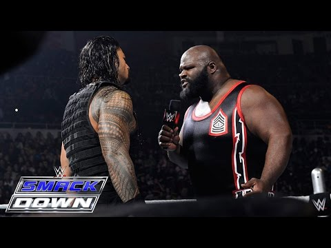Thumbnail: Roman Reigns spears a returning Mark Henry through the barricade: SmackDown, March 12, 2015