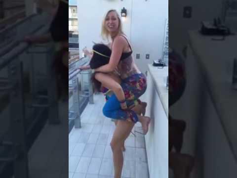 Me squatting Victoria hart in a bikini at marquee Dayclub during mdw Las Vegas 2016 and failing haha
