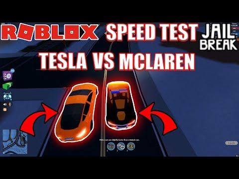 TESLA BEATS MCLAREN?!!   Roblox Jailbreak VEHICLE SPEED TEST ATV VOLT BIKE
