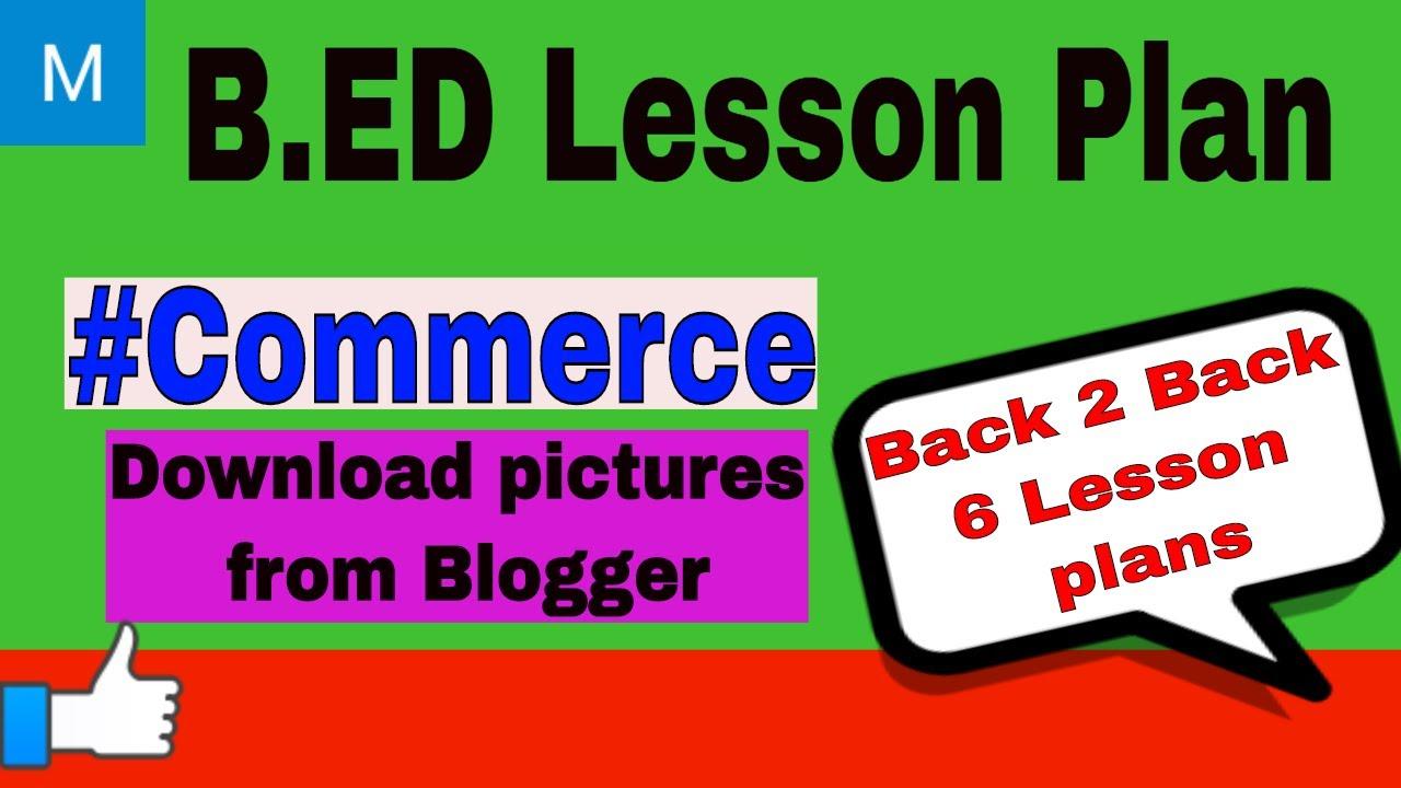 B Ed Lesson Plan Commerce 2 My Info