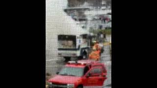 Ambulance catches fire outside hospital