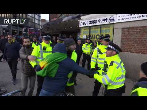 Pro-Kurdish protesters brutally clash with police in North London