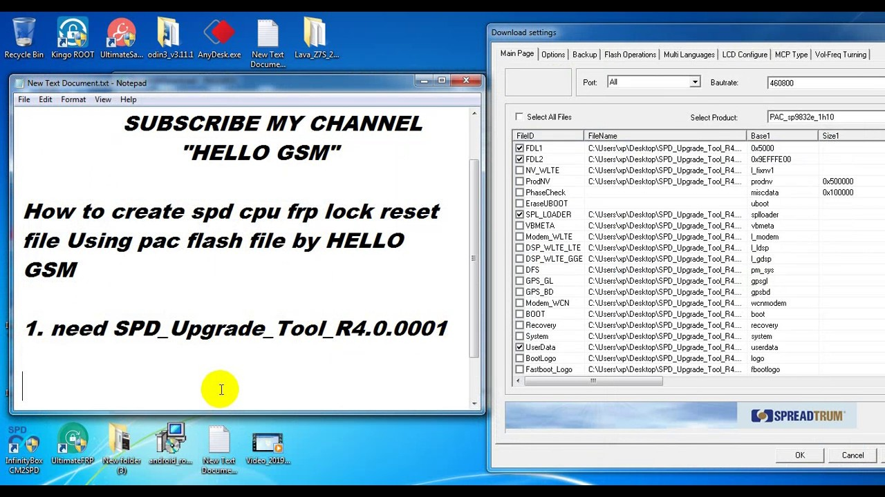 How to create spd cpu frp lock reset file Using pac flash file by HELLO GSM
