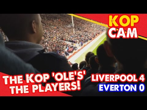 The Kop 'Ole's' The Players! | Liverpool 4-0 Everton | Kop Cam