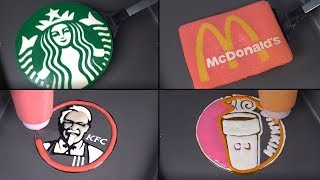 Coffee & Fastfood Brands Pancake Art - Starbucks, Mcdonald's, Dunkin Donuts, KFC