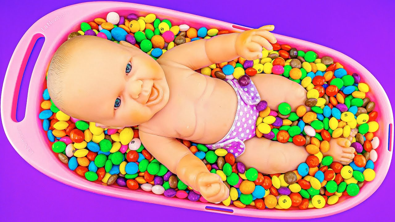 Satisfying Relax ASMR   Full Mix Bathtub of Lot Rainbow Skittles Candy with Doll Magic Slime Video