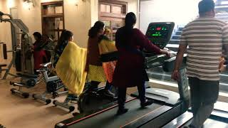 Members sweating out hard in gym at Throwback Fitness Azamgarh
