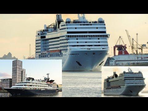 Two cruise ships leaving Dublin Port (MSC Orchestra + Corinthian)