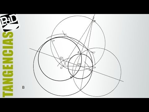 Circunferencias tangentes a otra pasando por dos puntos interiores (tangencia + potencia).