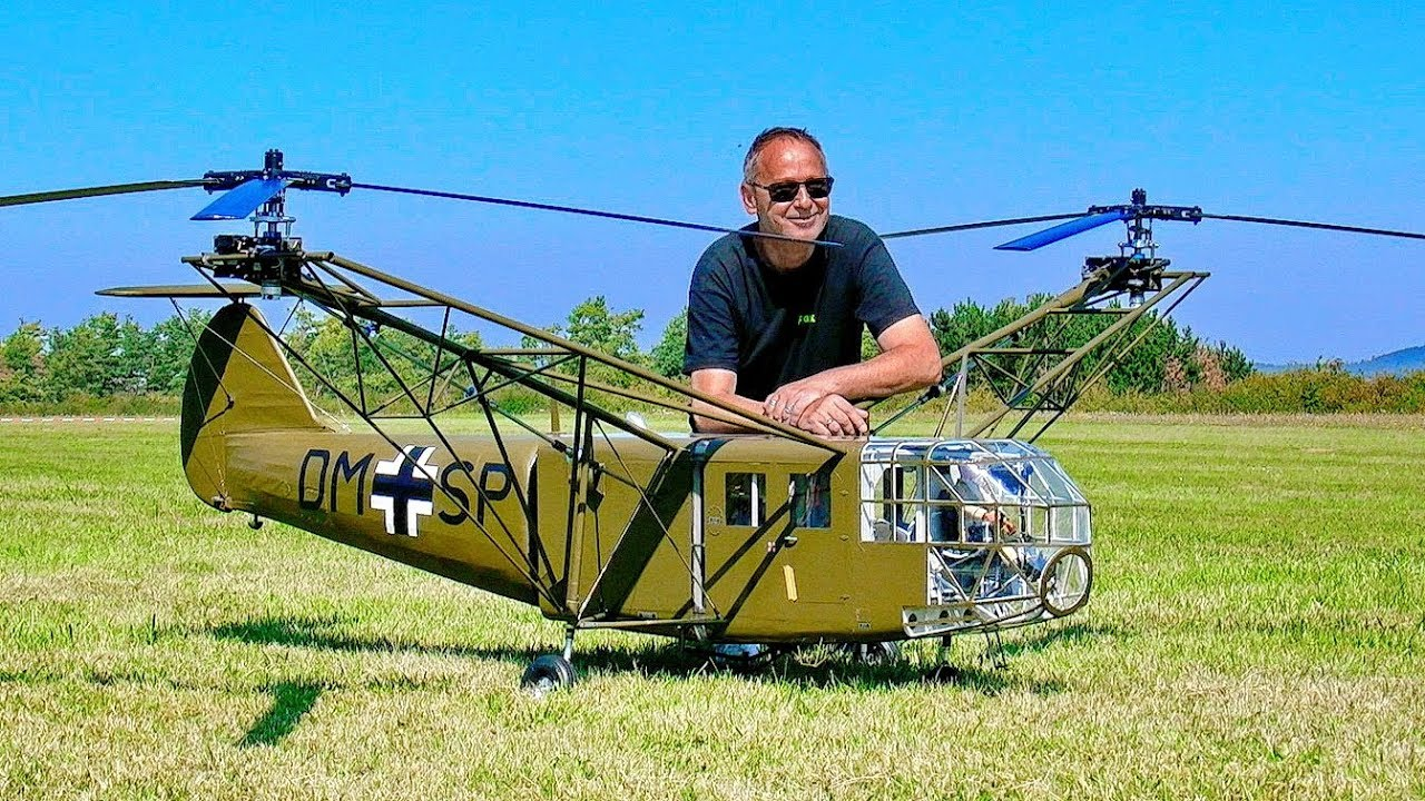 SPECTACULAR STUNNING !!! GIANT RC FOCKE ACHGELIS FA-223 DRAGON SCALE MODEL HELICOPTER FLIGHT DEMO