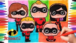 Incredibles 2 Coloring Pages | Watch How to Draw The Incredibles Family | Mr Incredible Elastigirl