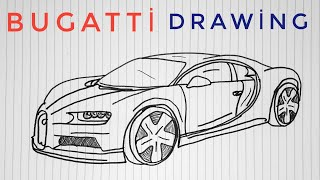 How to draw a Bugatti Chiron step by step easy - Araba Çizimi Bugatti