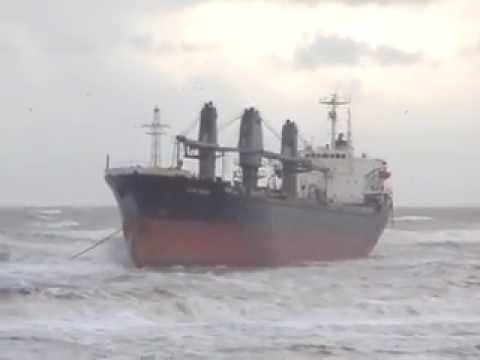 Aztec Maiden a big cargo ship stranded on the coast of Wijk aan Zee in Holland.