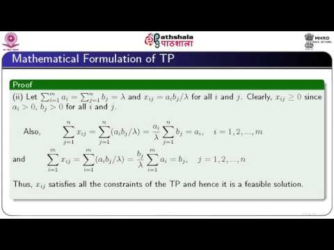Mathematical formulation and initial BFS of transportation problem (Math)