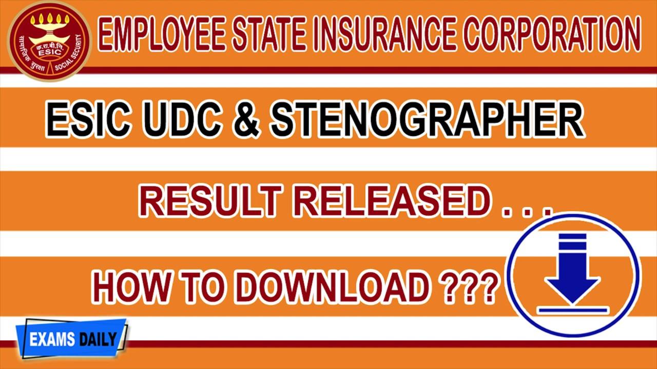 ESIC UDC Result 2019 Released - Download Stenographer Prelims Cut