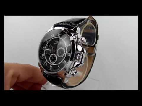 8ca57092c9cf5 Relógio Cjiaba, Caixa Aço Inoxidável, Pulseira de Couro, Automático e  Múltiplos Marcadores