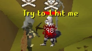 Dharok rushing (Little do they know I have 1 HP)