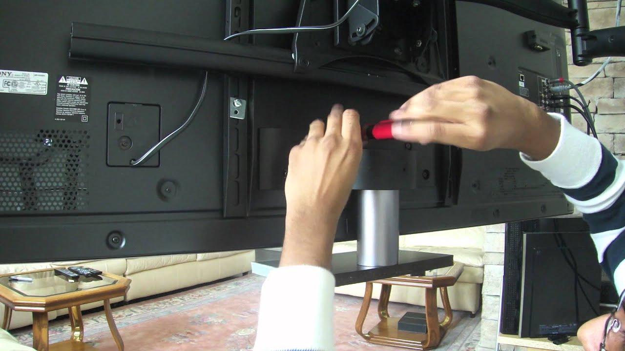 Xbr65hx929 Centre Speaker Mount W Slideout Stand Youtube
